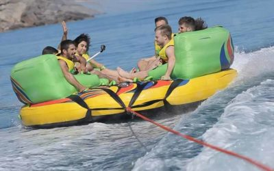 Tubing in Argelès / Slide fastly on water with the sofa
